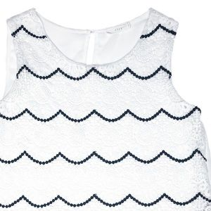 LUSH Scallop Lace Crop Top in Black & White SMALL